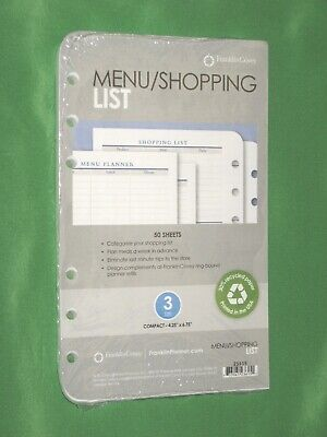 Compact Menu Shopping List 50 Pages Franklin Covey Planner Refill New