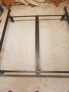 Solid Wood Queen bed head and cast  iron frame