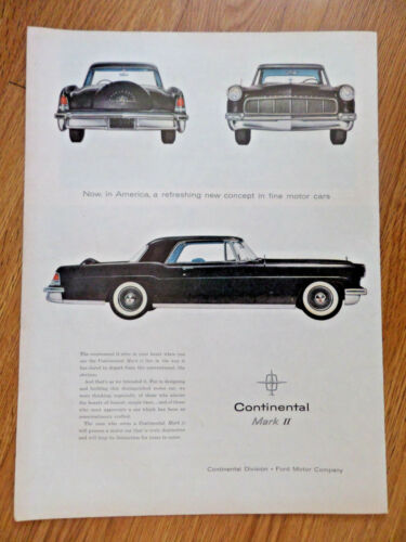 1956 Continental Mark 2 Ad  Refreshing New Concept in Fine Motor Cars