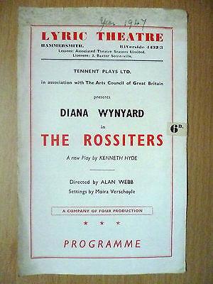 1947 Lyric Theatre Programme- Diana Wynyard in The Rossiters by Alan Webb