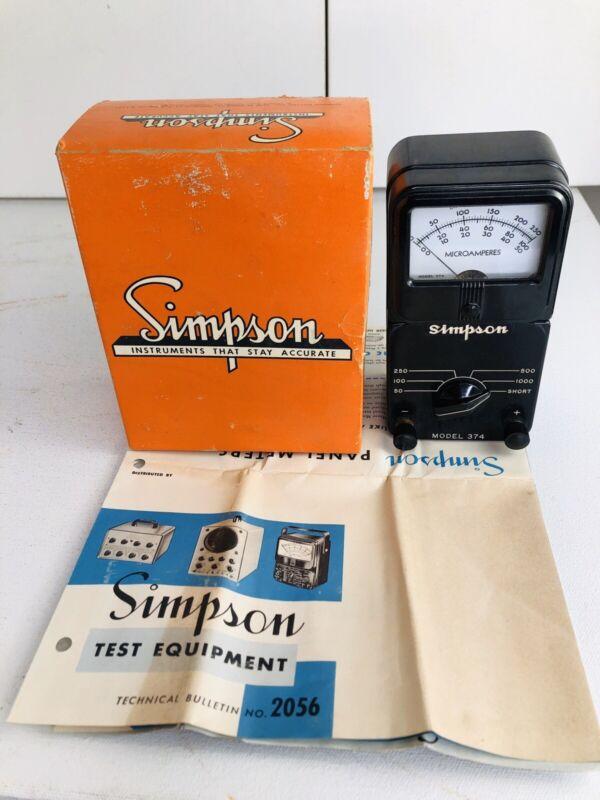 Vintage SIMPSON Microammeter Model 374 Microamperes Analog Meter  Box & Brochure