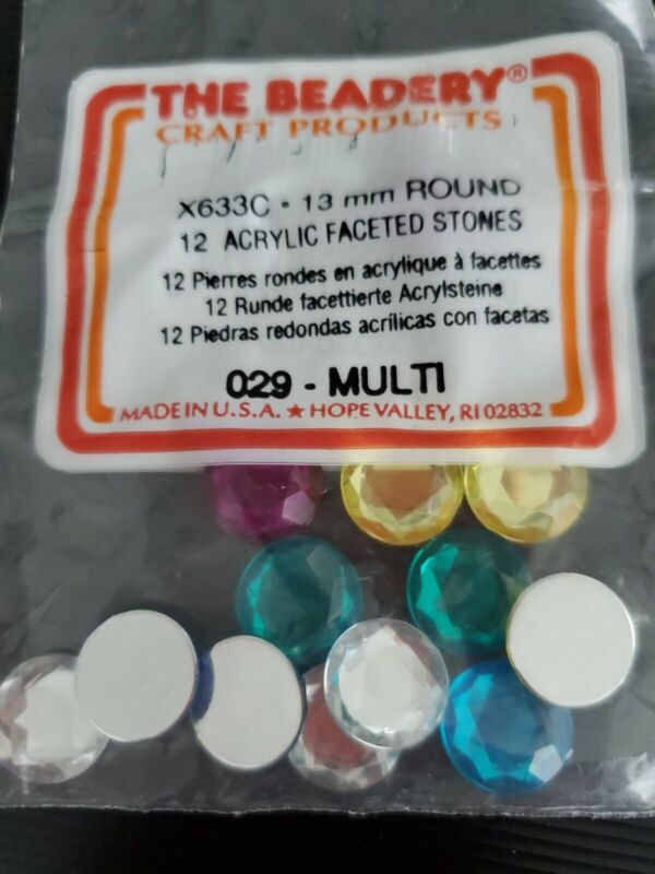 Acrylic Faceted Stones -  13 mm Round  Multi Color - Free Shipping