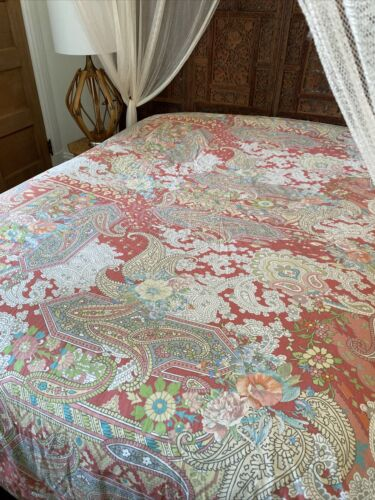 NEW Pottery Barn GEMMA ROSE Coral Pastel Abstract Paisley Full/Queen Duvet Cover - $69.00