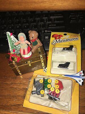 Dollhouse Miniature Wood Toy Train Set toy chest Christmas tree ice skates doll