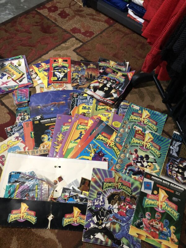 Huge Lot Vintage Mighty Morphin Power Rangers 90s Paperwork Coloring Books Cards