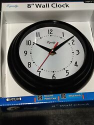 25013 Equity by La Crosse 8 Plastic Analog Wall Clock - Black