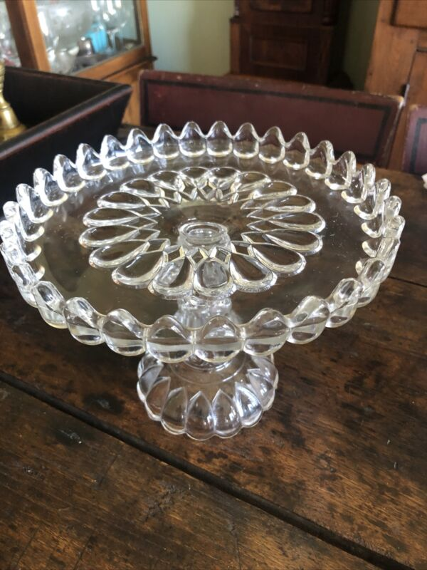 Antique EAPG Adams & Co Pittsburgh Glass c1890 Art Jacobs Tears Cake Stand