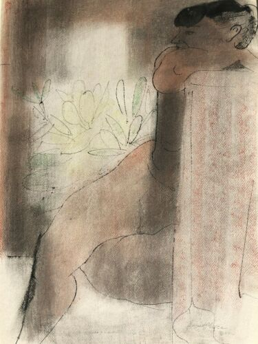 Nude with Elbow on Back of Chair-Floral Backdrop M/M Drawing-1968-August Mosca
