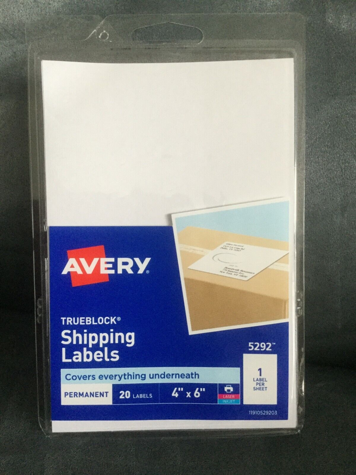 "AVERY #5292 TRUEBLOCK SHIPPING LABELS 20 COUNT 4"" X 6"" FOR L"