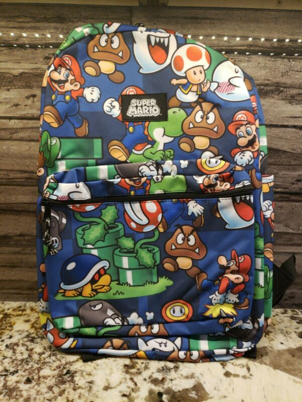 "Nintendo Super Mario Bros. All Over Print 16"" Backpack School Book Bag Tote"