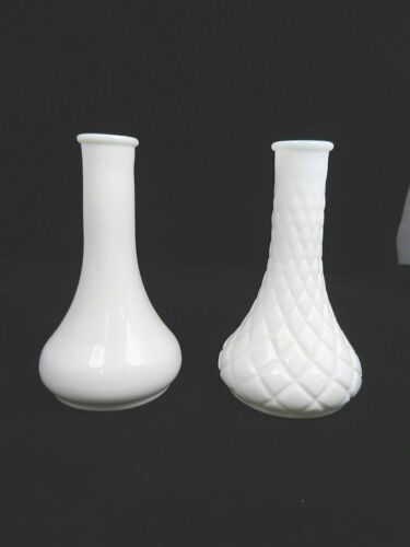 "Milk Glass Vases, #4061-II & #4062- 8, Height 6"""