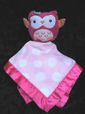 Circo Pink Polka Dot Owl Velour Satin Trim Lovey Security Blanket 14x14 Target