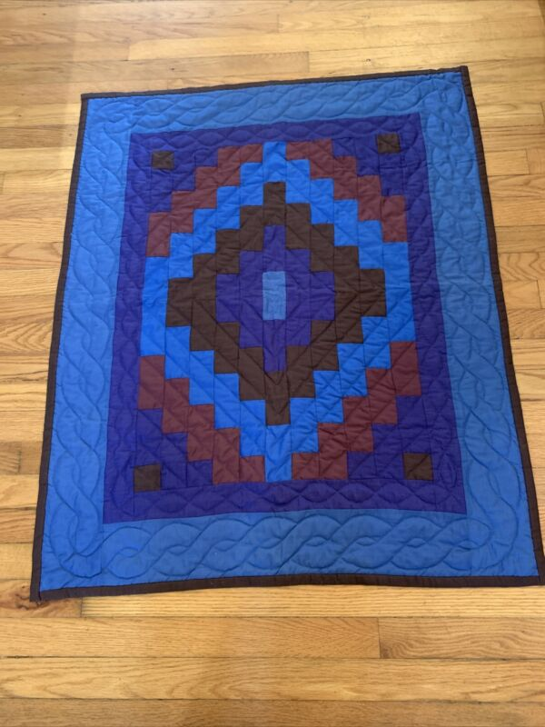 """Vintage Amish Machine Quilted Quilt Wall Hanging 41"""" X 33"""" Geometric"""