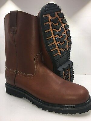 Men's Best Work Boots Pull On Leather Brown oil water slip resistant Size (Best Brown Leather Boots)