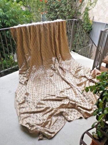 Curtain Drape vintage silk satin with rose buds  1930
