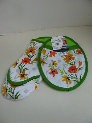 Fiesta Puppet Style Oven Mitt and Pot Holder - Green / Floral - NWT