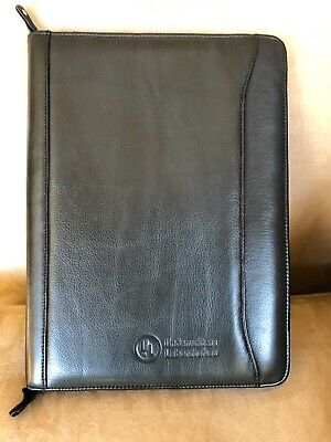 Genuine Leather Business Zipper Notepad Portfolio