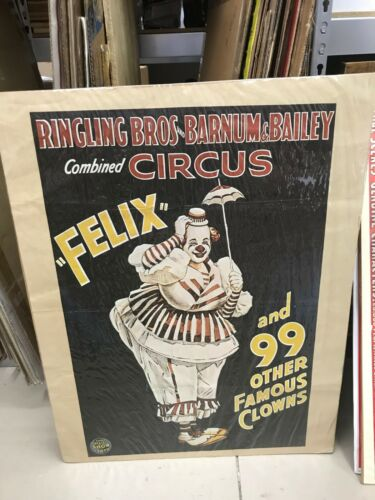 """REPRO RINGLING BROS. CIRCUS POSTER 24""""X 31"""" FELIX ADLER AND 99 OTHER CLOWNS"""