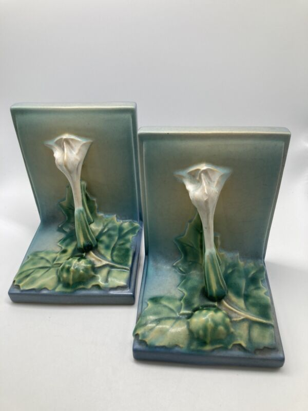 Roseville Pottery Iris Bookends Set 2