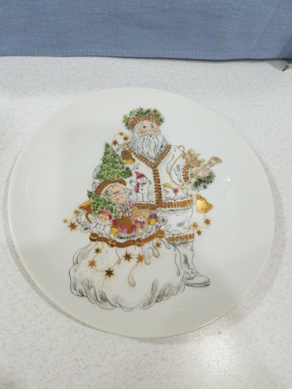 Hudsons Marshall Fields Santa Plate 1992 Ceramic Gold Accents Japan