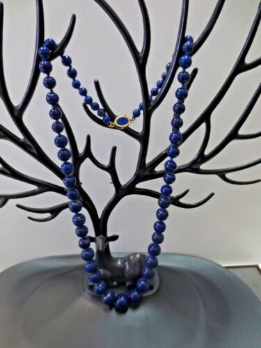 "Vintage 14K Lapis clasp  20.75"" Knotted Graduated Lapis Beaded Necklace"