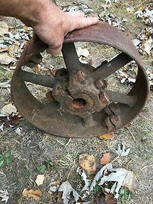 Vintage Old Steel Tractor Belt Pulley Cast Iron 13.5 Diameter Farm Fresh