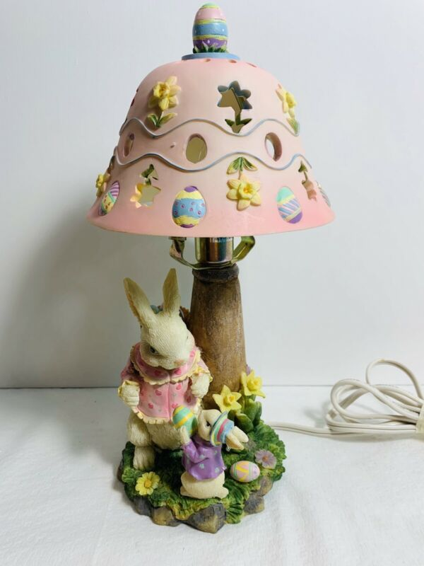 Adorable Hand Painted Bunny Lamp New In Box