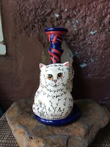 Cats by Nina - White Persian Cat & Red/Blue Striped Candlestick