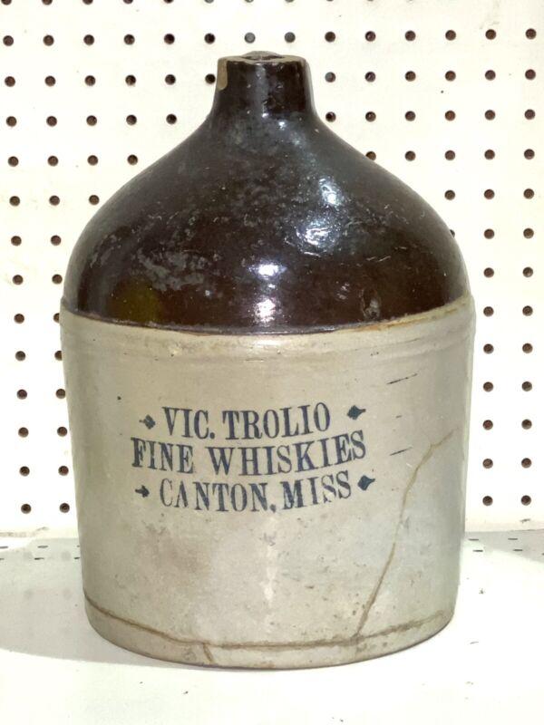 Antique Vic Trolio Canton Mississippi Advertising Stoneware Whiskey Jug