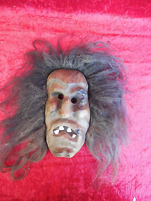 Beautiful,ANTIQUE WOODEN MASK __ Witch __ with Genuine Hair and