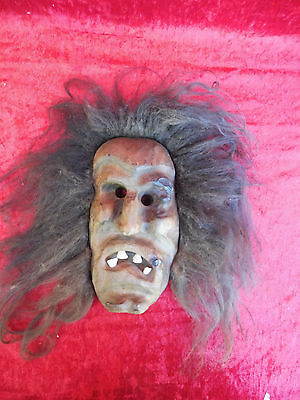 Beautiful,Old Wooden Mask __ Witch __ with Genuine Hair and Echtzähnen__Carnival