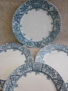 4 antique 1900s GRIMSONS Alexandria blue & white 26cm DINNER PLATES aesthetic AF