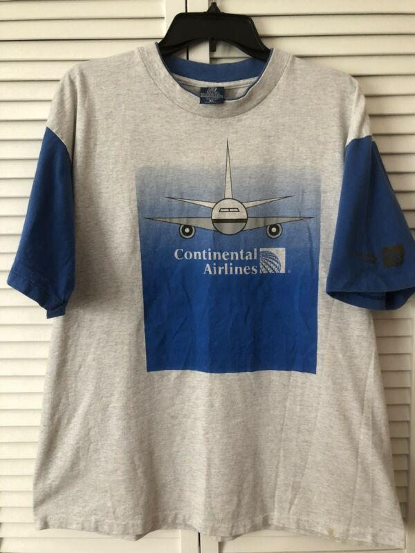 Continental Airlines T Shirt Vintage Made In USA Size XL Plane & Logo