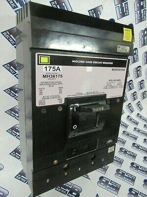 Square D Mh36175 175 Amp 600 Volt Grey Circuit Breaker- Test Reportwarranty