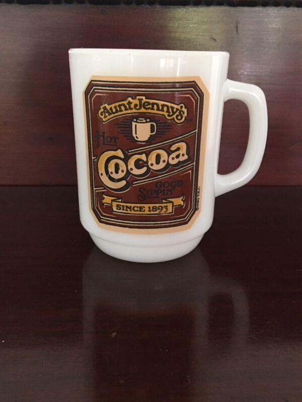 Vintage Anchor Hocking Aunt Jenny's Hot Cocoa Milk Glass Tea/Coffee Mug 1980