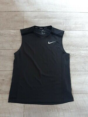 Mens Black Nike running vest top size L