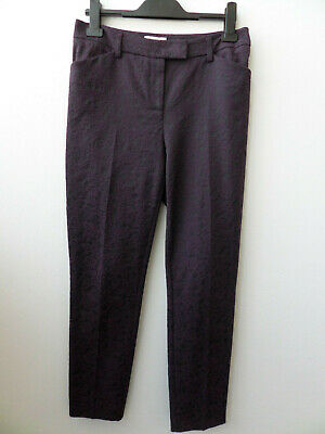 Monsoon Women's Smart Purple Brocade Pattern Trousers Size UK 10
