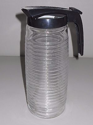 Huge 10 Syrup Cream Glass Pitcher Drip Cut Lid Cafeteria Restaurant Mess Hall