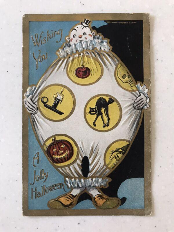 Antique 1908 Halloween Embossed Postcard Fat Jolly Clown Rose Co. printer