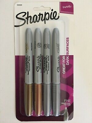 New Sealed Sharpie Metallic Markers 4 Pack Gold Bronze Silver Permanent Markets