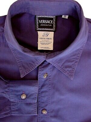 VERSACE JEANS COUTURE Shirt Mens 14.5 S Purple BIG BACK EMBLEM