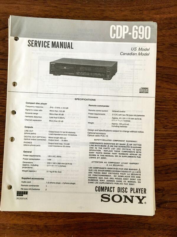 Sony CDP-690  Service Manual *Original*