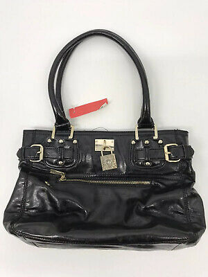 Anne Klein Hand Bag Black Leather. Buckle Decor Pendant. EUC