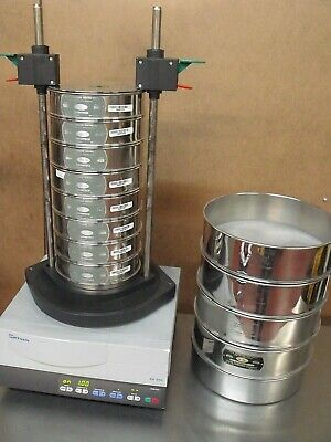 """RETSCH AS300 ELECTROMAGNETIC SIEVE SHAKER CLAMPS 12 TEST SIEVES 8"""" & 12"""" AS-300"""