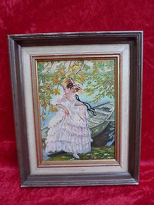 schönes, altes  Gemälde__ Dame am Boot __signiert  __  !