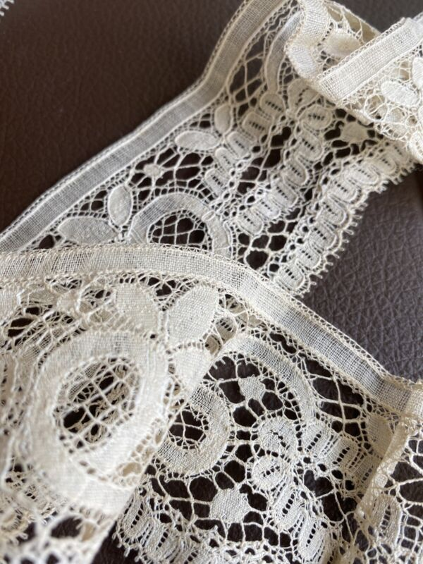 """22"""" Antique French Sweet Simple Net Lace Trim, Edging, Doll Excellent Salvage"""