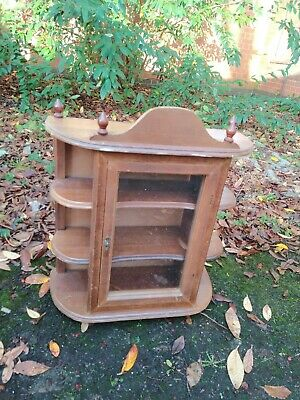 Vintage Plywood Glass Wall Shelf/Cabinet/Display Cabinet In Wood.