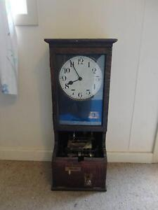 RARE ENGLISH OAK CASED WORKERS TIME STAMP CLOCK Armidale City Preview