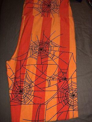 NWOT LuLaRoe Halloween Leggings OS Spiderwebs Orange/Black](Spiderwebs Halloween)