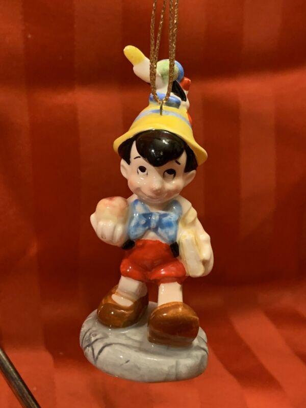 Vtg Disney Pinocchio Christmas Ornament Figurine Schmid Porcelain Jiminy Cricket